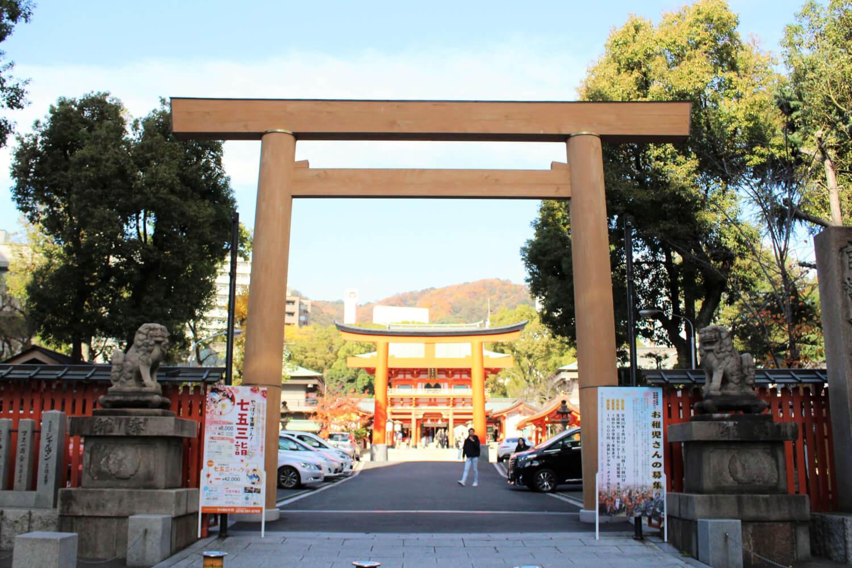 阪神淡路大震災後、伊勢神宮から復興を願い届けられた生田神社の鳥居
