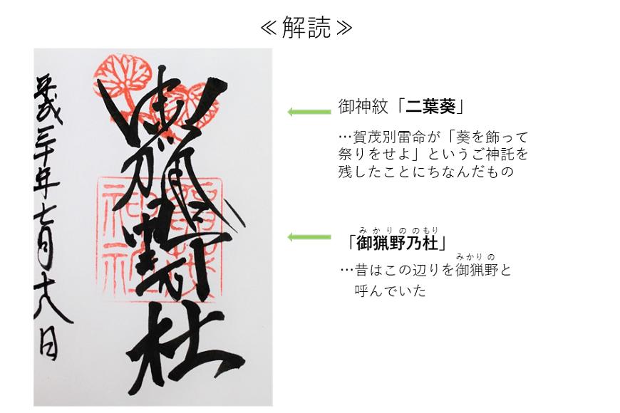 賀茂神社の御朱印を解読