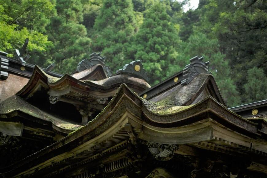 岡太神社、大瀧神社の社殿は複雑な屋根が特徴的